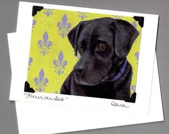 Black Lab Card - Labrador Retriever - Black Dog Card - Fleur de Lab - 10% Benefits Animal Rescue