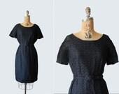 vintage 1950s ribbon dress - 50s 60s ribbonwork dress - black wiggle dress - Large