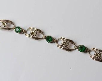 Sterling Bracelet with Emerald Rhinestones Vintage Silver Link Bracelet Green Rhinestones