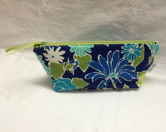 Bright Blue and Apple Green Floral Make Up Bag