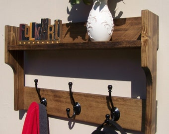 Rustic Entryway Organizer 3 Hook Coat Rack with 1 Shelf Walnut Finish