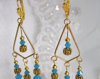 22K gold plated Caribbean Blue Swarovski elements Elegant Chandelier Earrings