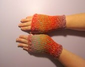 Fingerless Gloves - Orange, Green, Pink, Red Mix Hand Knit Fingerless Gloves