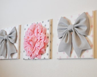 "Baby Girl Nursery - Wall Decor - Large Gray Bows and Light Pink Dahlia on Polka Dot 12 x 12"" Canvases Pink and Gray Baby Nursery  Art"
