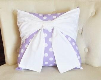 Nursery Decor - Light Purple Polka Dot Pillow with  Big White Bow Throw Pillow Nursery pillow