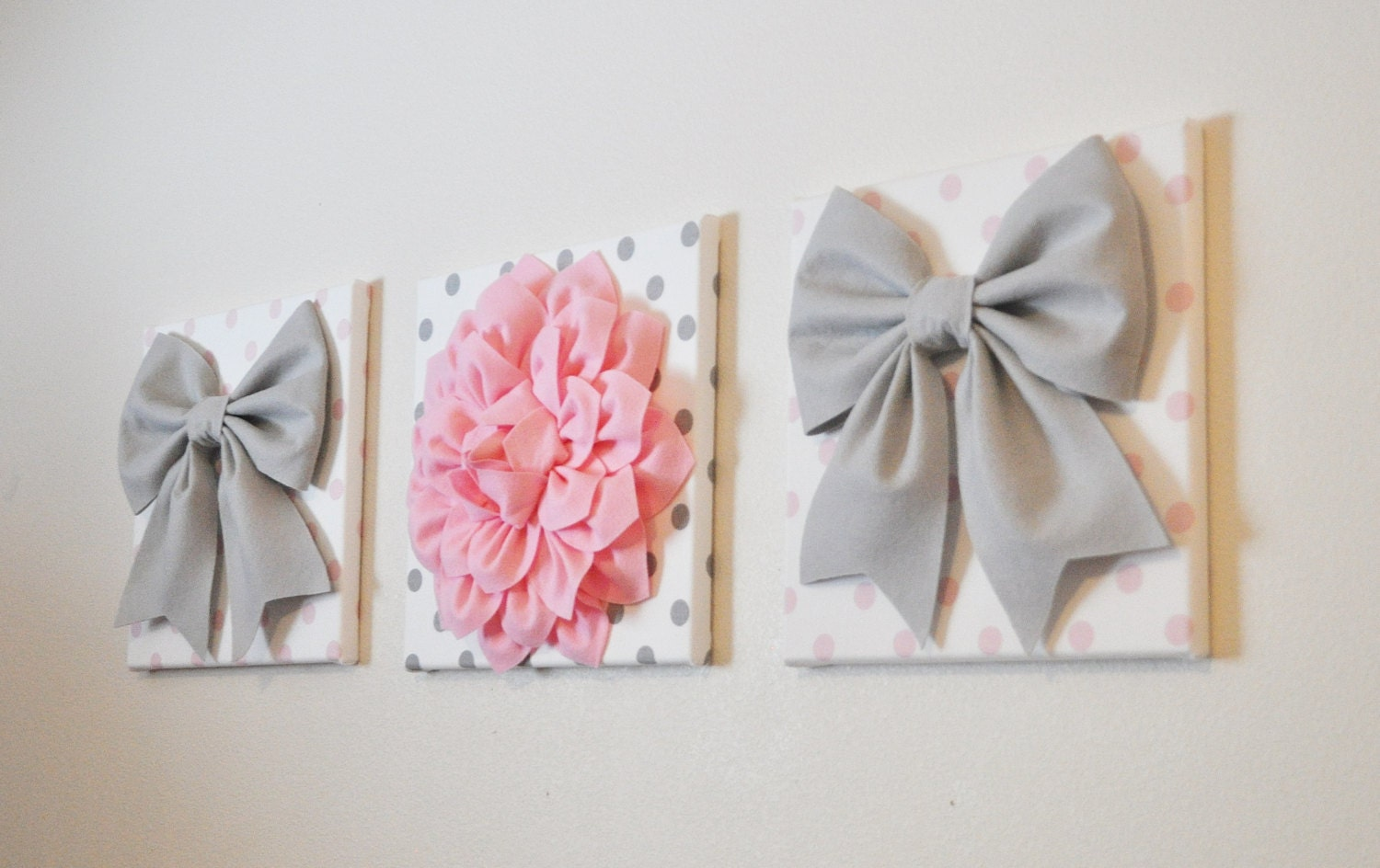 Baby Girl Nursery Wall Decor Large Gray Bows And By Bedbuggs - cheer bow wall decoration designs