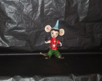 Vintage Japan KREISS Tall Mouse Figurine Chenille Tail ADORABLE 1956