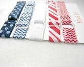 Adjustable Elastic Headband, Hair Band, Girl, Baby, Woman Headband, Sport Headband, Running Headband, Teen Headband- Set of 5 Red White Blue