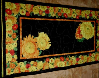 "Sunflowers-22"" X 42"" Handmade-Quilted-Table Runner-Made in USA by MJ Quilts"