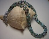 Necklace, silver necklace, green, blue, teal and black beads, Canada, seed beads, blue-green, ocean colors, soft, fabric, silver thread