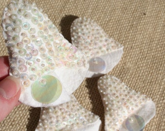 Vintage White Felt Wedding Bells with Sequins Set of 4 Small