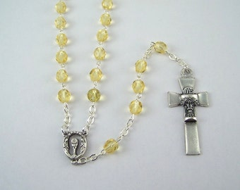Holy Communion Rosary with Champagne Czech Glass Beads
