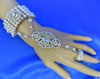 Pearl Slave Bracelet, Gold Chain Ring, Silver Chain Ring, Silver Slave Bracelet, Chain Ring Bracelet, Hand Ring Bracelet