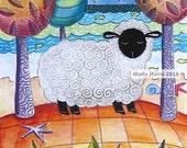 Sleepy Sheep: Farm wall art ,Matted Print of a Folk art Painting whimsy, Wall Art, Sheep illustration Kids wall art decore
