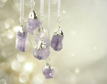 Sterling Silver Raw Amethyst Necklace - Natural Stone Jewelry - Large Amethyst Pendant Necklace - Deep Purple Jewelry
