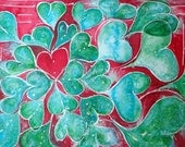 Bright Red and Turquoise Teal Green Hearts ORIGINAL  WaterColor Bold Colorful Painting
