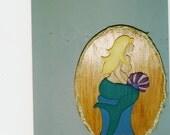 Handmade wooden custom painted mermaid plaque