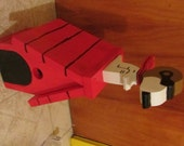 Handmade Custom Wooden Functional Snoopy as the Red Baron Birdhouse