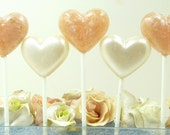 Heart Champagne Lollipops with a touch of shimmer - Wedding Baptism Birthday Favors - Valentine Candy - Quick Shipping