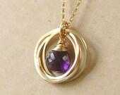 40th birthday gift, gold amethyst necklace, four interlocking circle necklace, February birthstone jewelry - Lilia