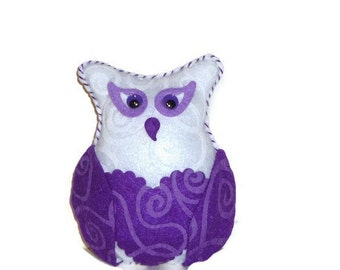 Stuffed animal owl, purple and white, gift for a girl, owl plush, felt animals, teen girl gifts, vibrant purple, teenager decor, plushies
