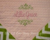 Personalized baby blanket- baby pink and and damask with jade green chevron- baby stroller blanket