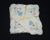 Vintage Woven Linen Floral Tulips and Spring Daisies Cocktail Napkins - 1960's Pastel Colors Applique Design - Set of 5 - New Never Used