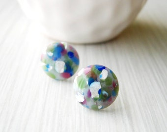 Gray Post Earrings, Artsy Studs, Funky, Nickel Free Posts, Multicolored, Splatter, Titanium, Blue, White, Green