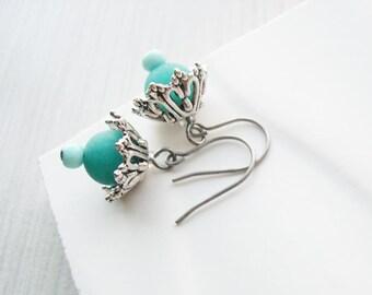 Turquoise Dangle Earrings - Silver Jewelry, Titanium, Nickel Free Earwires, Drop, Matte Stone, Aqua Blue Stone