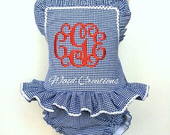 Girls One piece ruffle monogram swimsuit Boutique handmade