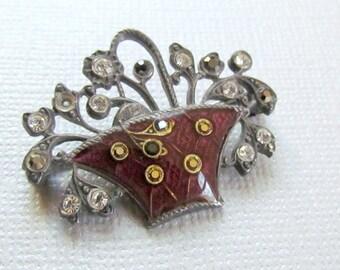 Enamel Flower Basket Pin Silver Marcasite Brooch