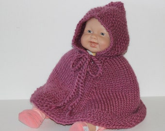 Hand Knit baby poncho with hood  mauve or pick color pure soft Norway  wool    Baby Shower gift made in Colorado Ready to ship