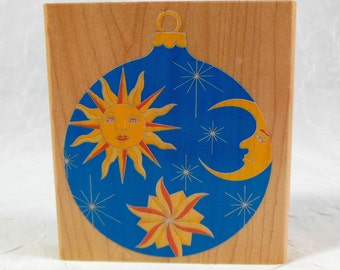 Rubber Stamp Ornament - Celestial, Sun, Moon, Stars, Galaxy, Holiday, Christmas