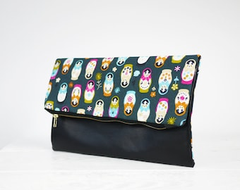 SALE! Fold over Babushka black leather bag | Matryoshka patterned Foldover Clutch
