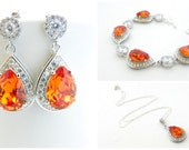 Fall Wedding, Orange Wedding Set, Tangerine Bridal Jewelry, Swarovski Bracelet, Orange Earrings, Necklace Set, Autumn Wedding, Halloween