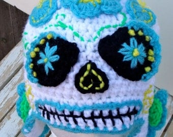 Sugar Skull Beanie Hat, Day of the Dead, Halloween, Dia de los Muertos, Women's Hat, Earflap Hat, Sugar Skull Costume, Costume Hat, OOAK