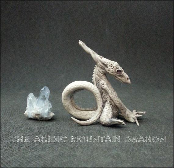 Acidic Mountain Dragon - miniature sculpture stoneware ceramic porcelain alaska garnet fantasy creature desk ornament altar pet