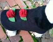 Any color Rosette Dress Dog Coat, Dog Jacket, Dog Jackets, pet clothing, made in USA