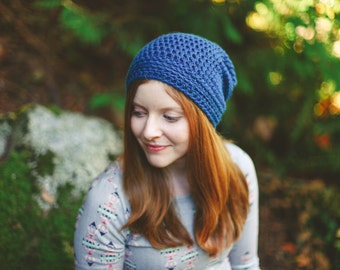 Blue Women's Slouchy Beanie, Crochet Women's Hat, Slouchy Hat, Crochet Hats, Wool Hat, (Reese)