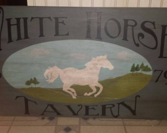 White Horse Tavern sign, primitive trade sign, handpainted wood sign, rustic, early american/colonial decor.