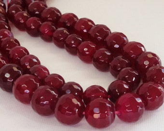 """Red Round Agate Beads - Pomegranate Faceted Agate Beads - Natural Drilled Gemstone - 10mm - 16"""" Strand - DIY Jewelry Making"""