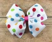 Polka Dotted Hair Bow, Toddler Hair Bows, Bow with Polka Dots, Girls Hair Bows, Bright Colored Polka Dotted Bow, FREE SHIPPING PROMO