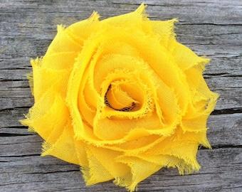Yellow Shabby Flower Hair Clip, Yellow Hair Bow, Bright Yellow Flower Hair Clip, Girls Hair Clips, Toddler Hair Clip, Free Shipping Promo