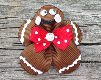 Gingerbread Man Hair Clip, Christmas Hair Bow, Holiday Hair Clip, Gingerbread Man Hair Bow, Toddler Hair Clip, Gingerbread Girl Hair Bow