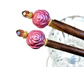 Pink Hair Accessories, Hairsticks, Flower, Rose, Prom Accessory, Pair