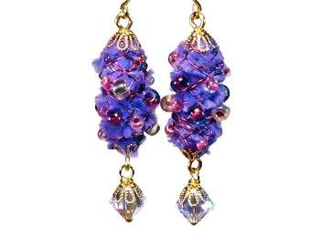 Handmade Purple Dangle Earrings, Wire Wrapped, Fiber Art Jewelry, Fuzzy Earrings