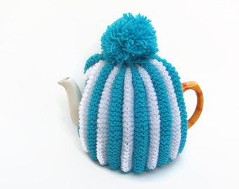tea pot  cozy hand knitted  cosie aqua and white wool  medium pot uk seller