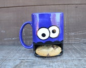 Dark Royal Blue Googly Eyed Monster Ceramic Cookie and Milk Dunk Mug - Ready to Ship