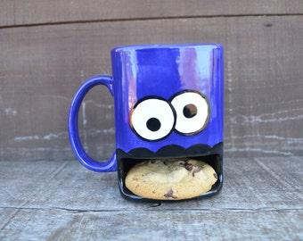 Dark Royal Blue Googly Eyed Monster Ceramic Cookie and Milk Dunk Mug - Ready to Ship