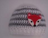 Newborn Photo Prop, Grey and White Striped Hat, Striped Crochet Hat, Fox Felt Applique Hat, Fox Beanie Hat, Baby Fox Hat